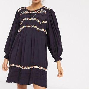 Free People Pasadena Embroidered Mini Dress